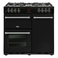 Belling FARMHOUSE90DFT Blk 90cm dual fuel range cooker