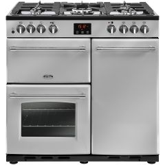 Belling FARMHOUSE90DFT Sil 90cm dual fuel range cooker