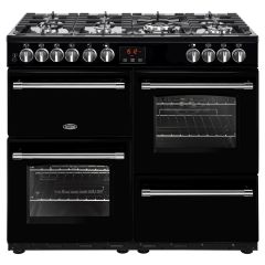 Belling FARMHOUSE100DFT Blk 100cm dual fuel range cooker