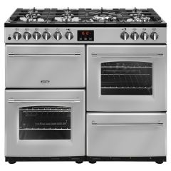 Belling FARMHOUSE100DFT Sil 100cm dual fuel range cooker