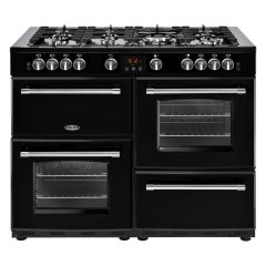 Belling FARMHOUSE110DFT Blk 110cm dual fuel range cooker