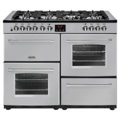 Belling FARMHOUSE110DFT Sil 110cm dual fuel range cooker