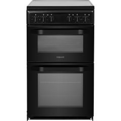 Hotpoint HD5V92KCB 50Cm Ceramic Twin Cavity Cooker
